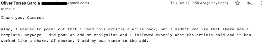 Craigslist Ad Template Testimonial